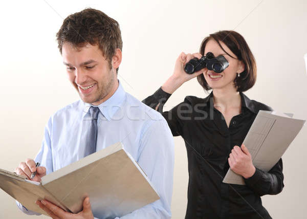 Business man and spying Woman Stock photo © armstark