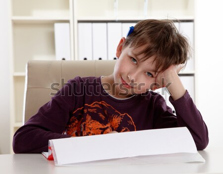 школьник узнать домашнее задание школы счастливым ребенка Сток-фото © armstark