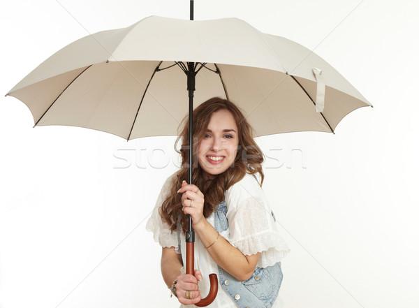 Kız şemsiye iş yağmur eğlence portre Stok fotoğraf © armstark