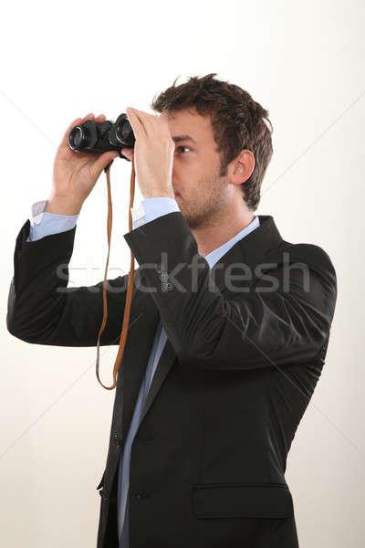 Iş adamı dürbün göz gelecek izlemek arama Stok fotoğraf © armstark