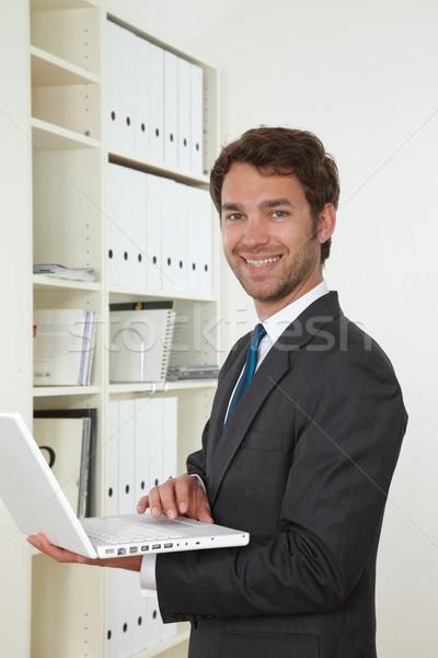 Iş adamı ofis iş yüz mutlu işadamı Stok fotoğraf © armstark