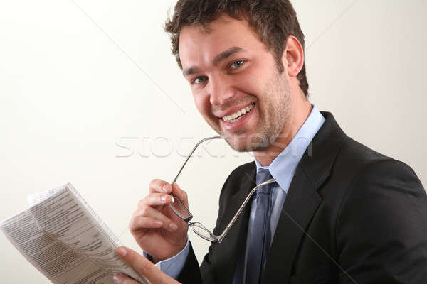 Business man with newspaper Stock photo © armstark