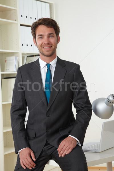 Iş adamı ofis iş bilgisayar yüz dizüstü bilgisayar Stok fotoğraf © armstark