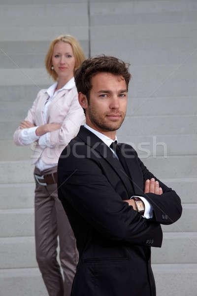 Iş adamı kadın durmak merdiven adam çalışmak Stok fotoğraf © armstark