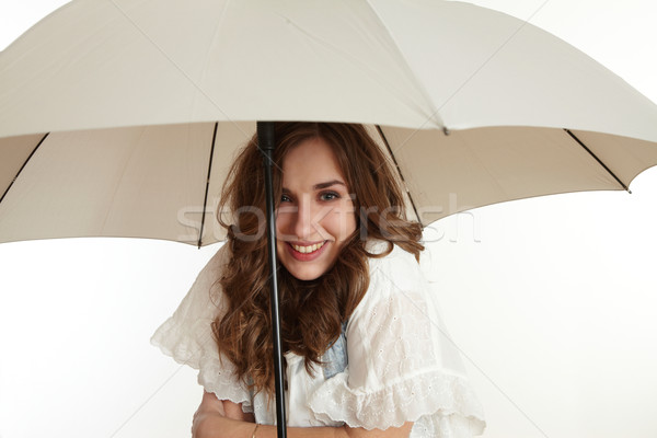 Photo stock: Fille · parapluie · affaires · pluie · amusement · portrait