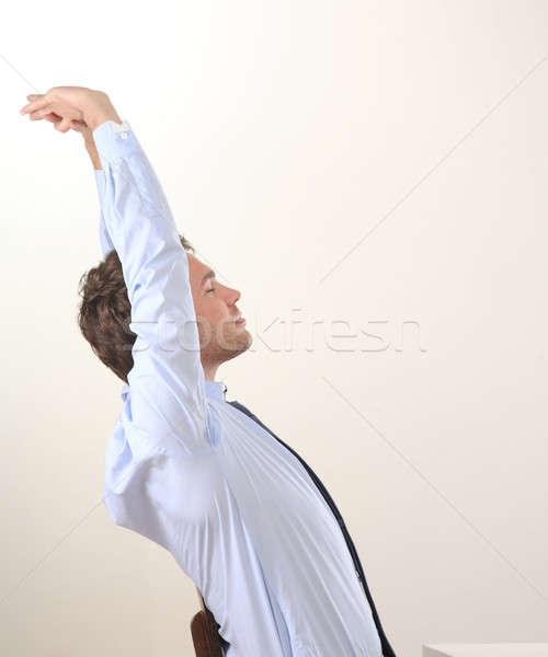 Adam tablo bir iş uygunluk mavi Stok fotoğraf © armstark