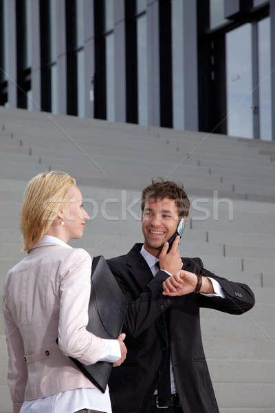 Iş adamı gülen İş ortağı adam mutlu telefon Stok fotoğraf © armstark
