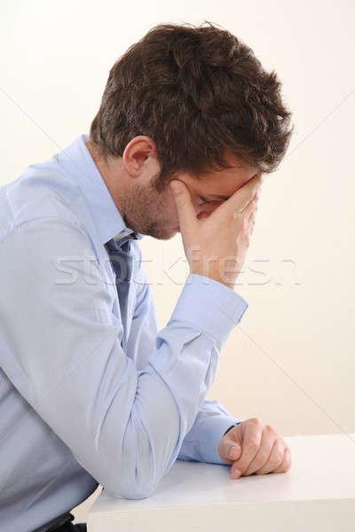 Adam yorgun bir el genç stres Stok fotoğraf © armstark