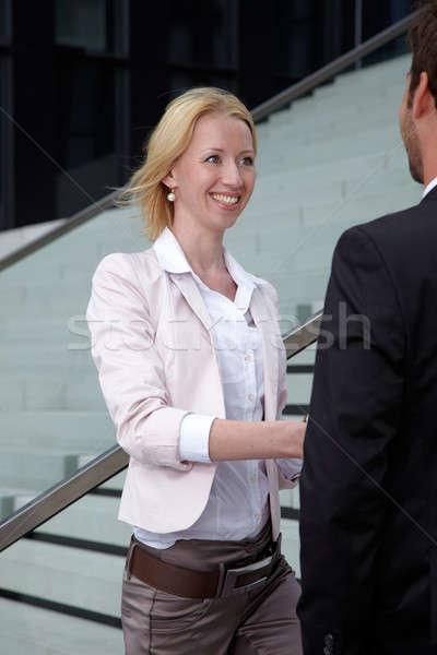 женщину Shake стороны человека улыбка город Сток-фото © armstark