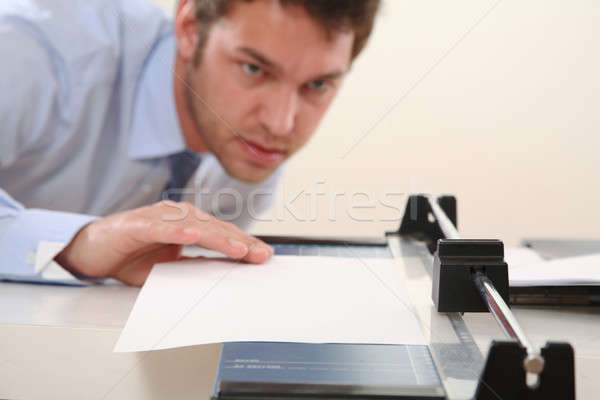 человека Cut бумаги синий машина рубашку Сток-фото © armstark
