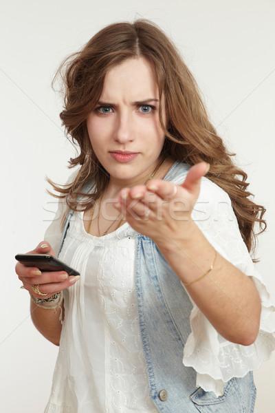 Kız cep telefonu iş kadın teknoloji haber Stok fotoğraf © armstark