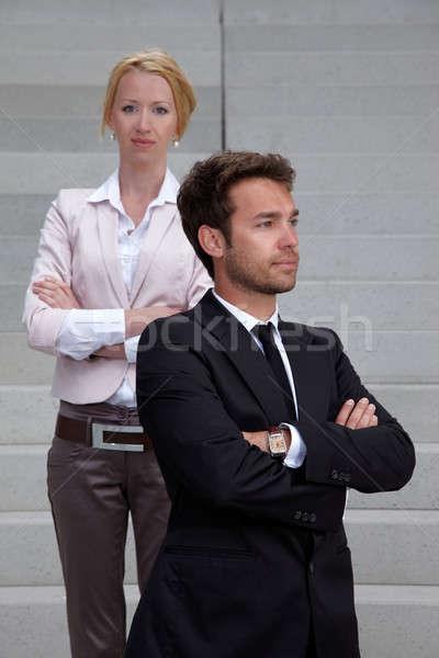 Iş adamı kadın merdiven adam çalışmak arka plan Stok fotoğraf © armstark