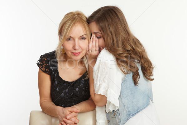 Kız anne bir şey kulak anneler kadın Stok fotoğraf © armstark