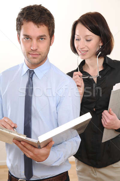 Adam kadın toplantı iş adamı iş toplantısı işadamı Stok fotoğraf © armstark