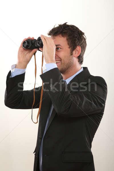Iş adamı dürbün göz takım elbise gelecek izlemek Stok fotoğraf © armstark