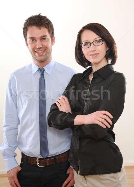 Adam kadın iş adamı iş işadamı gözlük Stok fotoğraf © armstark