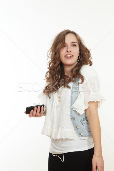 Adolescente giovanile musica mano faccia donne Foto d'archivio © armstark