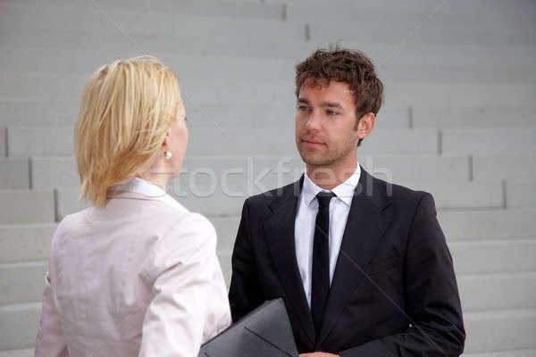 Iş adamı ayakta bakıyor adam işadamı takım Stok fotoğraf © armstark