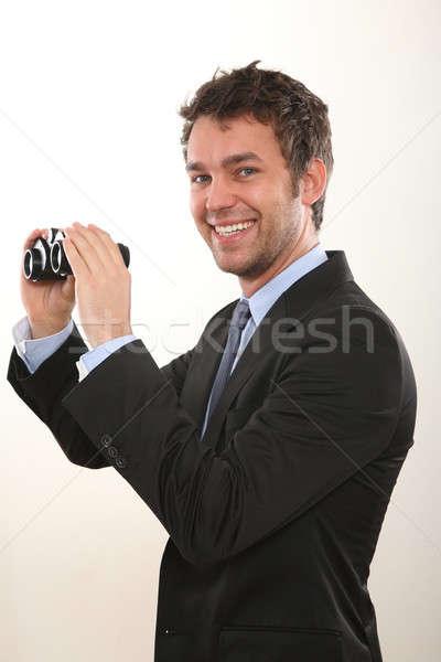 Iş adamı dürbün iş göz cam takım elbise Stok fotoğraf © armstark