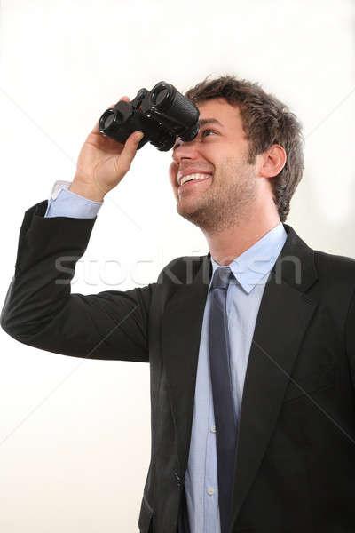Stockfoto: Zakenman · verrekijker · business · oog · pak · grappig