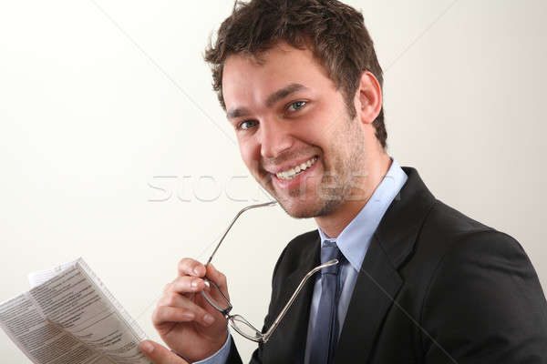 Iş adamı gazete adam okul haber gözlük Stok fotoğraf © armstark