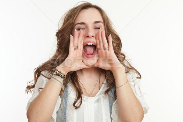 Kız ağlayan genç çağrı kişi çığlık atan Stok fotoğraf © armstark