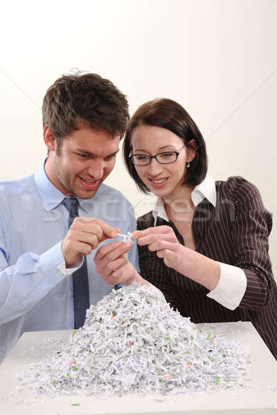 Man and Woman with file shredder Stock photo © armstark