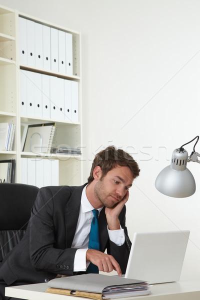 Stock fotó: üzletember · álmos · üzlet · iroda · portré · stressz