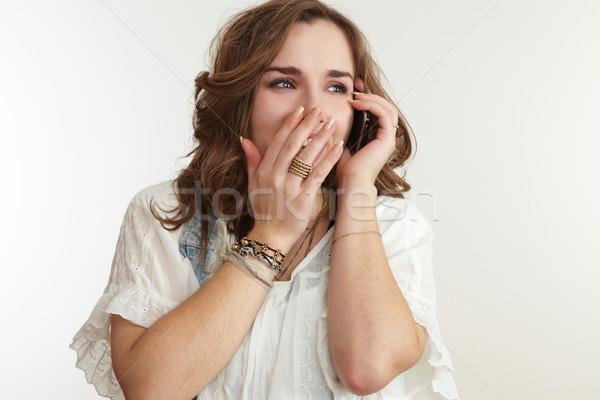 Photo stock: Fille · téléphone · portable · affaires · femme · main · visage