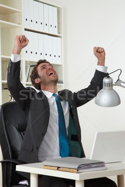 Iş adamı iş ofis mutlu işadamı erkekler Stok fotoğraf © armstark