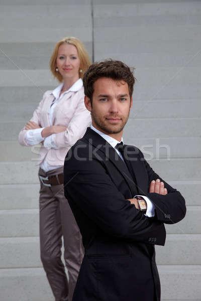 Iş adamı iş kadını kadın merdiven adam çalışmak Stok fotoğraf © armstark