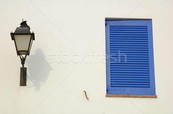 Pencere mavi lamba beyaz duvar ahşap Stok fotoğraf © arocas