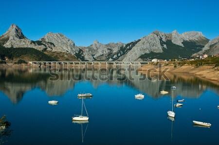 Lac nord Espagne ciel arbre montagne Photo stock © arocas