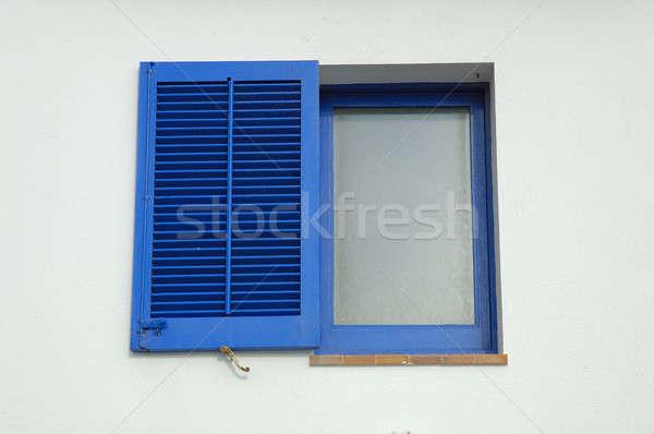 Pencere mavi beyaz duvar kör ahşap Stok fotoğraf © arocas