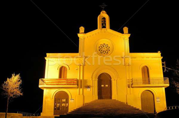 Peu église montagne arbre fenêtre nuit Photo stock © arocas