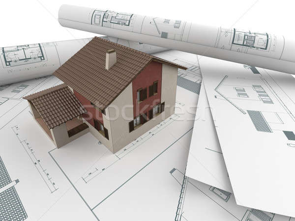 architectural drawings and house Stock photo © arquiplay77