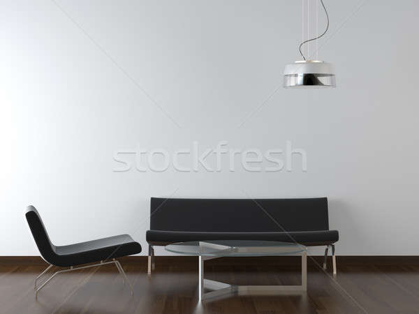 interior design black living room on white Stock photo © arquiplay77