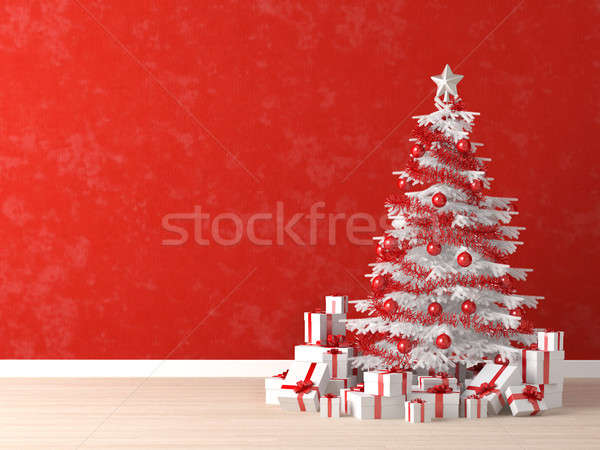 Photo stock: Blanche · noël · arbre · rouge · mur · arbre · de · noël