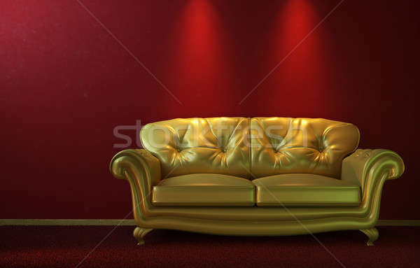Glam golden couch on red Stock photo © arquiplay77