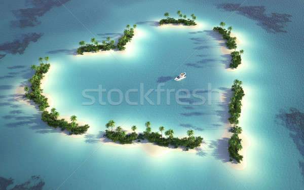 Stock photo: aerial view of heart-shaped island