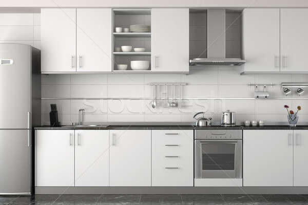 Interior design moderno bianco interno cucina design clean Foto d'archivio © arquiplay77