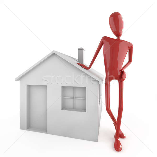 dummy leaning on house icon Stock photo © arquiplay77