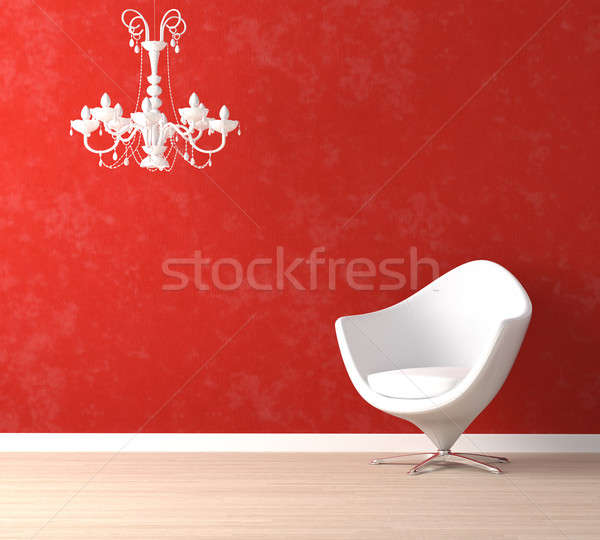 Stok fotoğraf: Beyaz · sandalye · lamba · kırmızı · iç · mimari · sahne