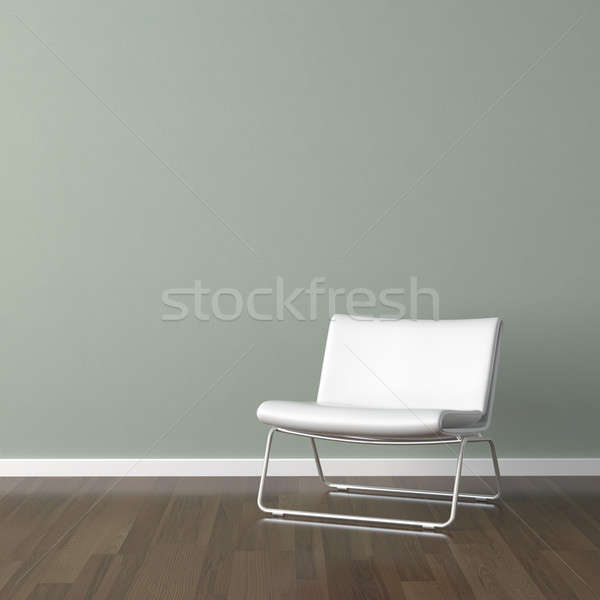 white modern chair on green wall Stock photo © arquiplay77
