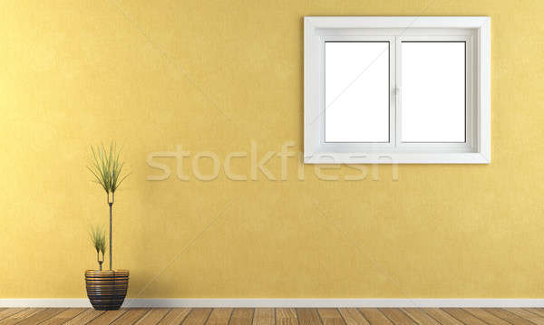 yellow wall with a window Stock photo © arquiplay77