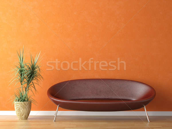 red couch on orange wall Stock photo © arquiplay77