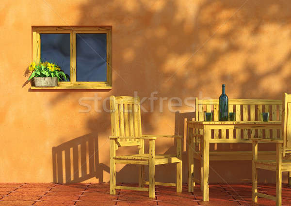 Sunny terrace with flowers and furniture Stock photo © arquiplay77