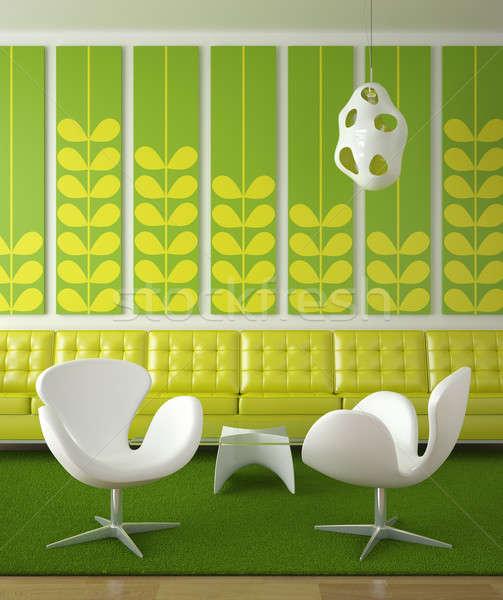Stok fotoğraf: Retro · iç · mimari · yeşil · renkler · iki · beyaz