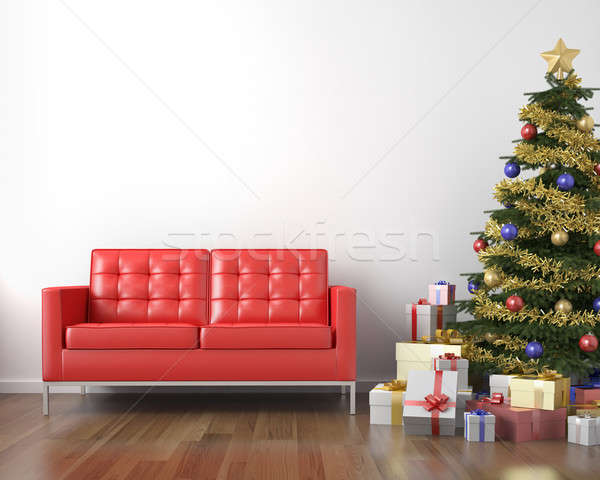 red couch and xmas tree Stock photo © arquiplay77