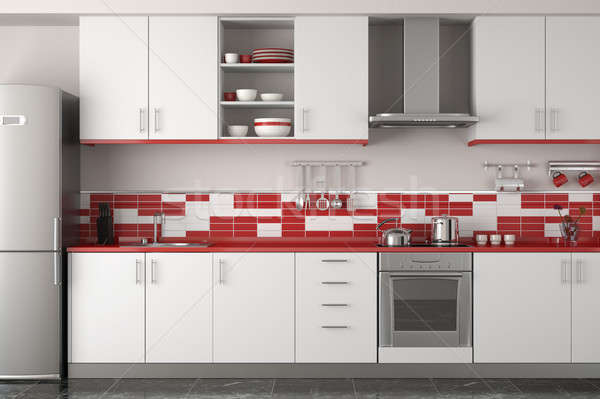 interior design of modern red kitchen Stock photo © arquiplay77